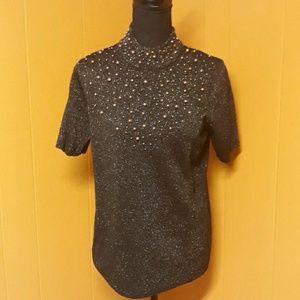 Susan Graver Style top metallic bead design sz S